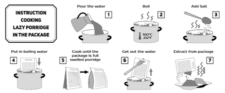 Cooking instructions. Manual for cooking porridge in package. Convenient horizontal cooking of porridge in a portion package.  イラスト・ベクター素材