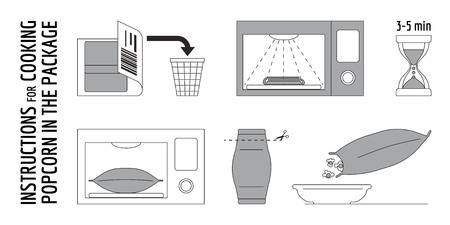 Cooking instructions. Manual for cooking popcorn in package. Convenient horizontal cooking of popcorn in a portion package. The scheme for self-cooking portioned popcorn in the microwave. UX UI App Design Vector Illustration Illustration
