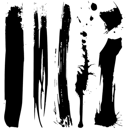 Set of vector black grunge ink blobs. Can be used for decorate of card, web design background, book cover. Isolated on white. Vector EPS10. Illustration