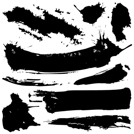 Set of vector black grunge ink blobs. Can be used for decorate of card, web design background, book cover. Isolated on white. Vector EPS10. Ilustração
