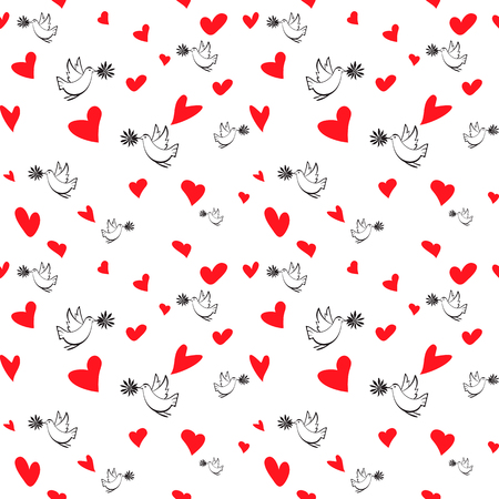 Vector seamless pattern with birds and hearts. Hand drown pattern for wedding and kids design, for wrapped paper or textile background. Cartoon style. Çizim