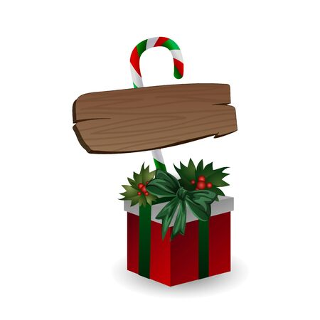 Festive composition with wooden board with candy and Christmas tree branches on a gift box decorated with bows on a white background. Christmas sale concept, eco packaging, place for text, flat lay, close up. Vector illustration, clip art.