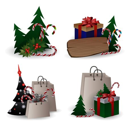 Set of festive composition with Christmas tree branches in a gift bag and boxes with bows on a white background. Christmas sale concept, eco packaging, flat lay, close up. Vector illustration, clip art.