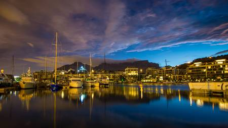 Cape Town Harbour at Night Stock Photo