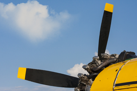 The propeller and engine aircraft in closeup