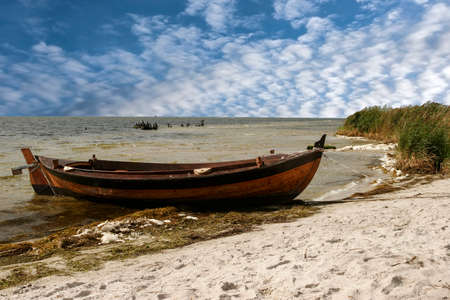 Boat on the sea shore, on the beach