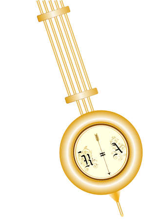 Brass pendulum of old clock isolated on white background, closeup