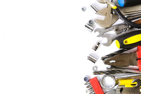 Tools collection, nuts, wrenches on white background photo