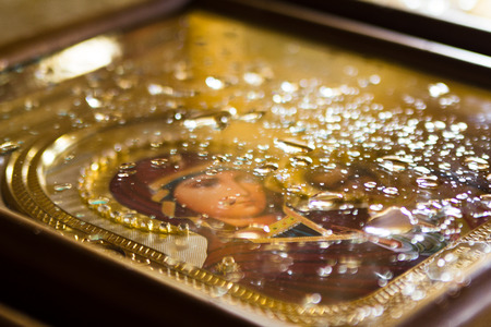 orthodoxy: Icon of St. Mary in the drops of water Stock Photo