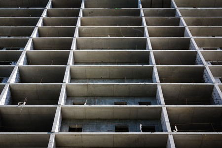 streight: modern concrete structure, building under construction. Streight lines Stock Photo