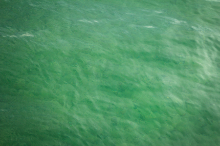 freshening: Green transparent sea water background with little waves on surface