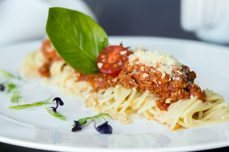 macro: Studio macro of Spaghetti Bolognese meal with basil leaves, grated parmesan cheese and tomatoes. Copy space.