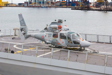 helicopter: Odesa, UKRAINE - MARCH, 26, 2015: helicopter on the deck of a warship in the port