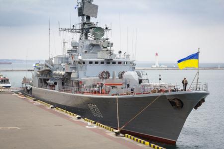 deck cannon: Odesa, UKRAINE - MARCH, 26, 2015: War ship Hetman Sagaydachny standing in the sea port