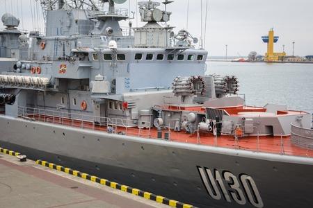 battleship: Odesa, UKRAINE - MARCH, 26, 2015: Ukrainian battleship Hetman Sagaydachny standing in the sea port Editorial