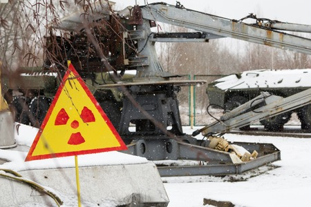 radiation pollution: Technology participated in the elimination of the explosion at the Chernobyl nuclear power plant and Sign of radiation pollution Stock Photo
