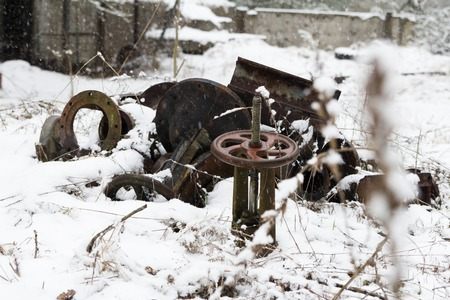 metal base: Old metal parts at the abandonet soviet military base near Chernobyl power plant Stock Photo