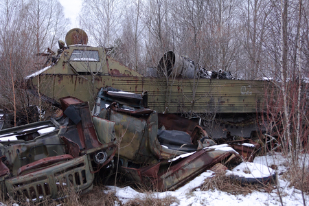 liquidation: abandoned radioactive vehicles took part in the liquidation of Chernobyl disaster