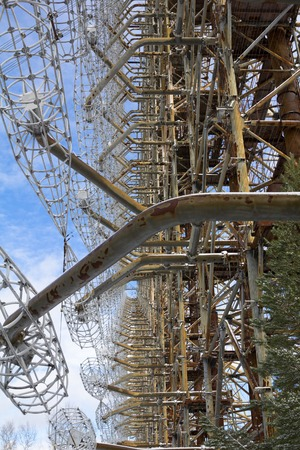 exclusion: Soviet radar facility DUGA in Chernobyl Exclusion Zone Stock Photo