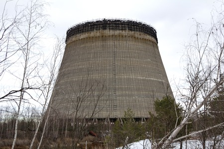 chernobyl: unfinished tower is near the Chernobyl nuclear power plant