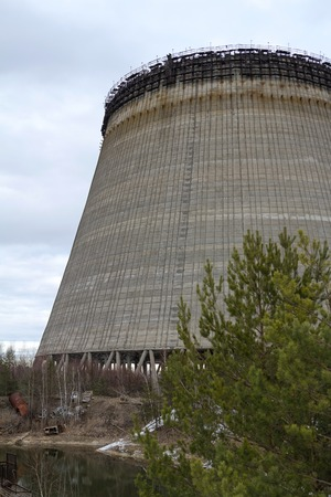 tall chimney: unfinished tower is near the Chernobyl nuclear power plant