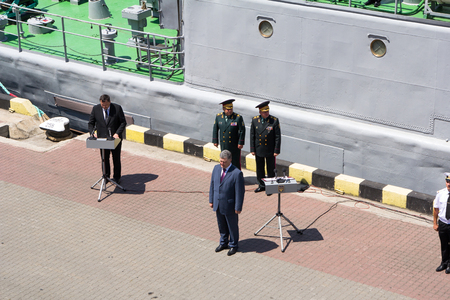 mikhail: Odesa, Ukraine - July 03, 2016: Ukrainian president Petro Poroshenko at the pier of Odesas port. Navy day celebration in Odesa