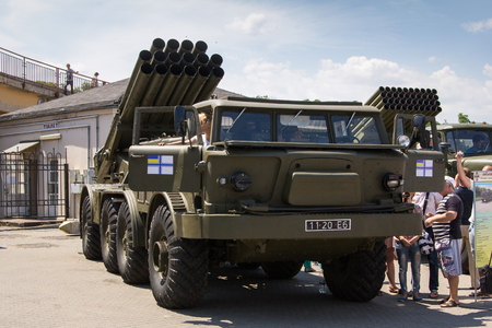 Odesa, Ukraine - July 03, 2016: Exhibition of military vehickles 'Uragan' and 'Grad' and others during celebration NAVY forces day Stok Fotoğraf - 59371612