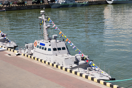 naming: Odesa, Ukraine - July 03, 2016: New armored boats during the ship naming ceremony.