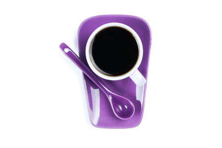 Purple coffee cup isolated on white background