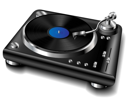 record player: Isolated black turntable with vinyl record