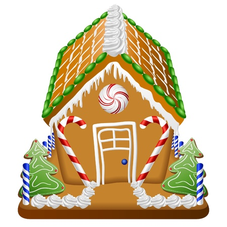 Gingerbread house with candies and whipped cream Vector