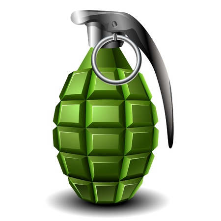 Realistic isolated green hand grenade Vector
