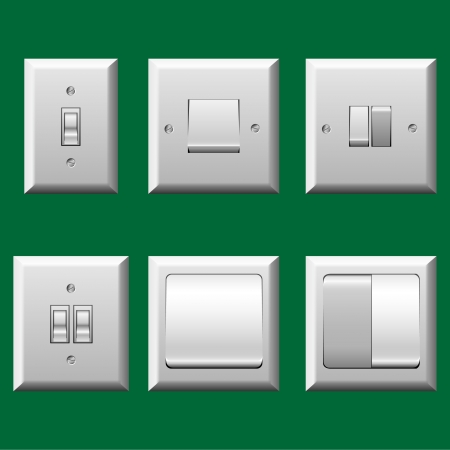 Different type light switch set Ilustração