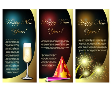 New Year cards with champagne, party hat and firework Vector