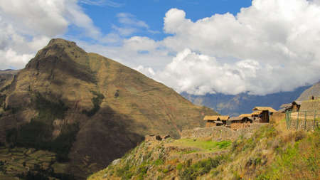Landscape of Pisaq in Perus Sacred Valley of the Incas