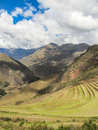 Landscape of Pisaq, in the Sacred Valley of the Incas, Peru Stock Photo