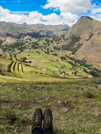 Shows and the landscape of Pisaq, in the Sacred Valley of the Incas, Peru Stock Photo