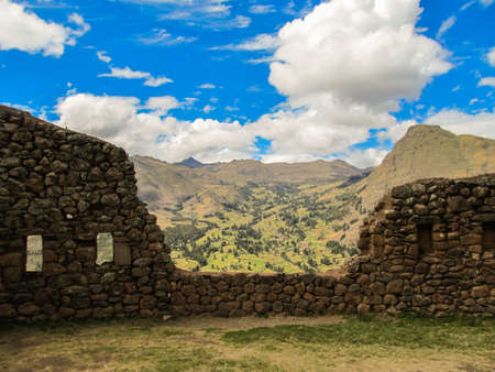 Details of the archaeological site of Pisaq, in the Sacred Valley of the Incas, Peru