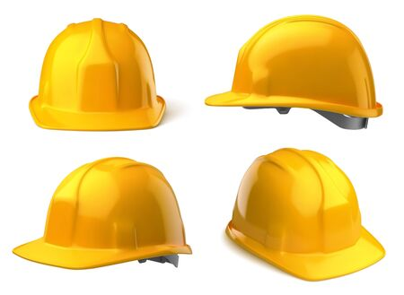 Vector yellow safety helmet on white background