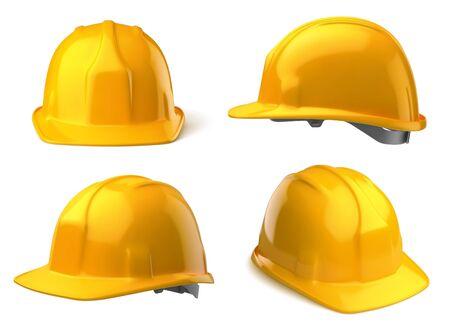 Vektor gelber Schutzhelm auf weißem Hintergrund Vektorgrafik