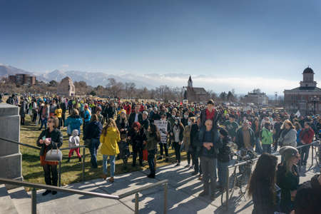 senate elections: Salt Lake City, UT, USA - January 31, 2015: A crowd gathers in front of the Utah State Capitol building for the Clean Air, No Excuses rally.