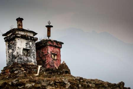 stupas: Stupas on a mountaintop Stock Photo