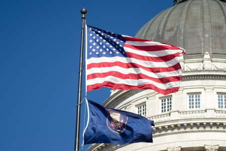 The Utah and US flags