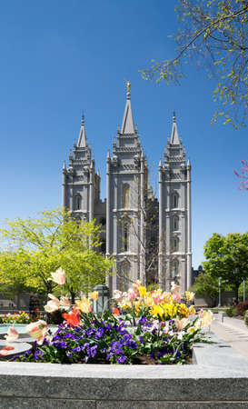 mormon temple: Salt Lake City, Utah, USA - April 18, 2015 - flowers in front of the Mormon temple in Salt Lake City, Utah. Editorial