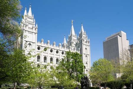 salt lake city: Salt Lake City, Utah, USA - April 18, 2015 - The mormon temple and Latter-Day Saints office building in Salt Lake City, Utah. Editorial