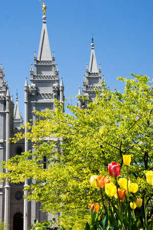 lds: Salt Lake City, Utah, USA - April 18, 2015 - flowers in front of the Mormon temple in Salt Lake City, Utah. Editorial