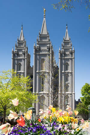 salt lake city: Salt Lake City, Utah, USA - April 18, 2015 - flowers in front of the Mormon temple in Salt Lake City, Utah. Editorial