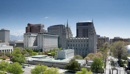 mormon temple: Salt Lake City, Utah, USA - April 18, 2015 - The mormon temple and Latter-Day Saints office building along with downtown Salt Lake City, Utah. Editorial