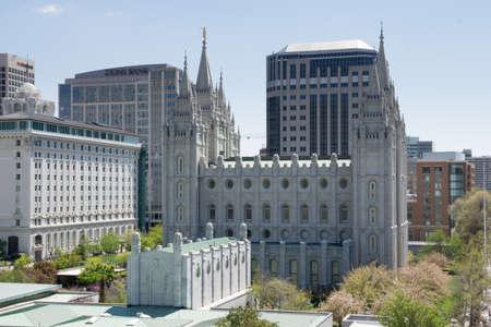 lds: Salt Lake City, Utah, USA - April 18, 2015 - The mormon temple and Latter-Day Saints office building along with downtown Salt Lake City, Utah. Editorial