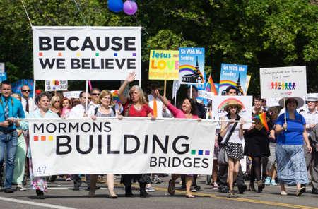 lds: Salt Lake City Utah USA  June 7 2015. Members of the group Mormons Building Bridges march in the Salt Lake City Utah Gay Pride Parade. Editorial